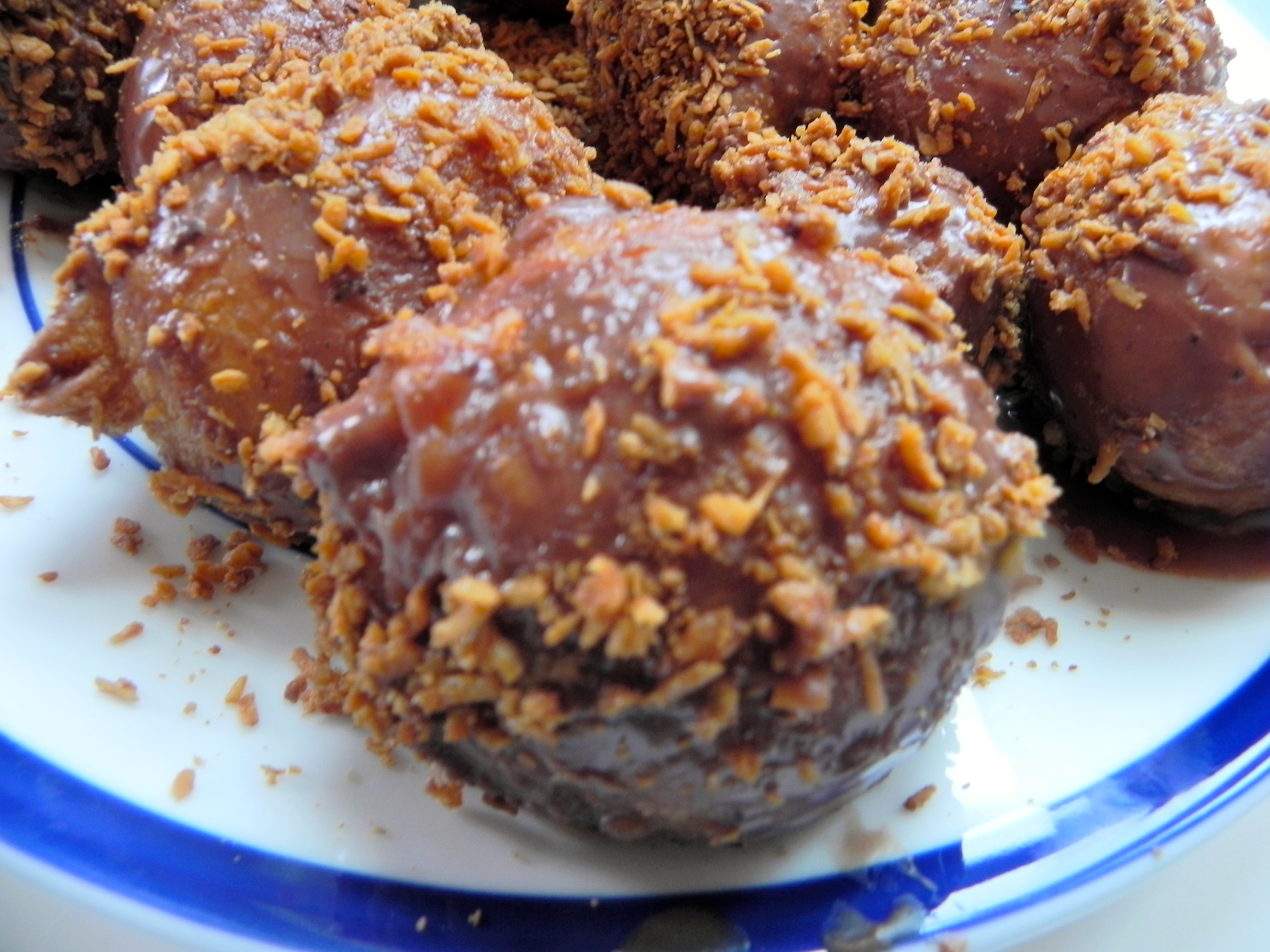 Chocolate Glazed Munchkins with Toasted Coconut Flakes ...